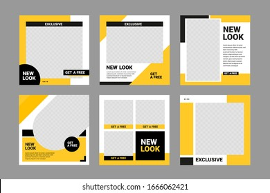 Editable minimal banner template Black and yellow background color.  Suitable for social media post, digital marketing and  web internet ads. Vector illustration with photo college