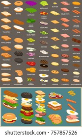 Editable mix and match sub, sandwich and burger elements.