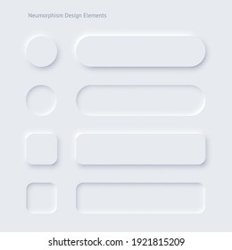 Editable neumorphic buttons set. Sliders for websites, mobile menu, navigation and apps. Simple elegant Neumorphism trendy design elements UI components isolated on light background