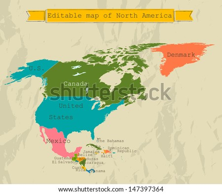 editable north america map all countries stock vector royalty free