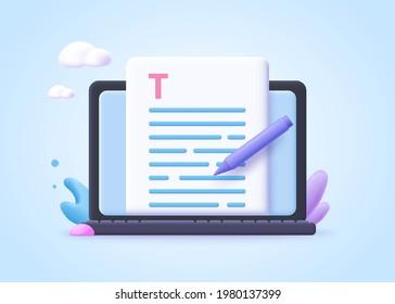 Editable online document concept. Creative writing, storytelling, copywriting, online education. 3d vector illustration.