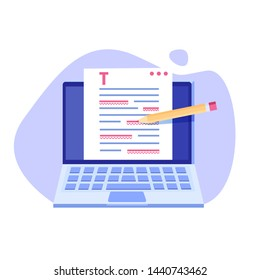 Editable online document. Creative writing and storytelling, copywriting . Online education, distant learning concept. Vector illustration.