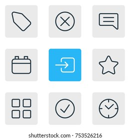 Editable Pack Of Clock, Done, Locked And Other Elements.  Vector Illustration Of 9 Annex Outline Icons.