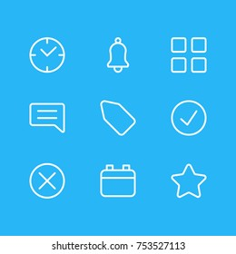 Editable Pack Of Note, Label, Cube And Other Elements.  Vector Illustration Of 9 App Outline Icons.