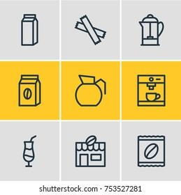 Editable Pack Of Package, Paper Box, Package Latte And Other Elements.  Vector Illustration Of 9 Coffee Outline Icons.