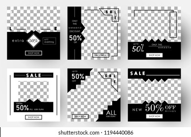Editable Post Template Social Media Banners for Digital Marketing. Promo Brand Fashion. Stories. Streaming. Vector Illustration