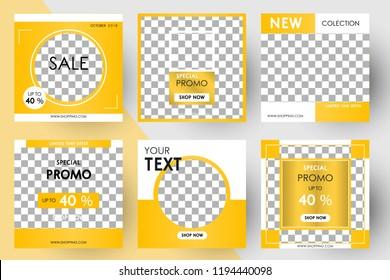 Editable Post Template Social Media Banners for Digital Marketing. Promo Sale Brand Fashion. Vector Illustration
