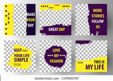 Editable Post Template Social Media Banners for Digital Marketing. Promo Brand Fashion. Stories. Streaming. Yellow violet. Vector Illustration