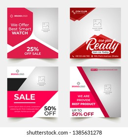 Editable Post Template Social Media Banners for Digital Marketing. Color Pink Red Orange Blue. Discount Web Banner