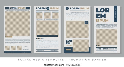 Editable post templates for social media ads. Promotions Portrait Banner Ad banner, with newspaper theme.