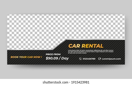 Editable promotional banner design template. Car rental banner with striped texture background. Suitable for cover, flyers, banner, and web ads. Flat design vector with photo collage