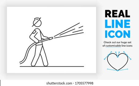 Editable real line icon of a fireman putting out a fire with his hose spraying water while standing in a uniform with a helmet in full body view in modern black lines on a clean white background