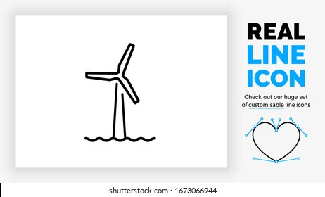 Editable real line icon of a offshore windmill park in the green energy industry in black clean lines on a white background