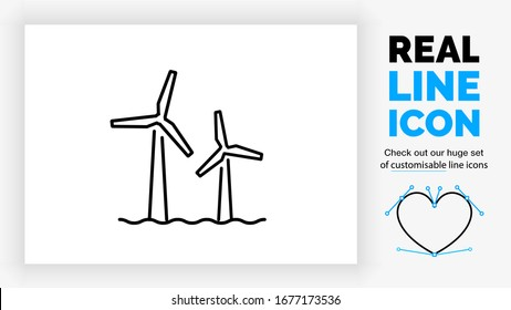 Editable real line icon of a offshore windmill park in the green energy industry in modern black lines on a clean white background