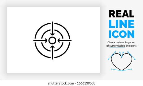 editable real line icon of a shooting bullseye used as a focus symbol with four arrows pointing to the center in black clean lines on a white background