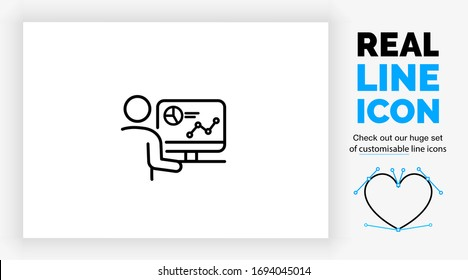 Editable real line icon of a stick figure analyst person working at his desk on a computer with data and web results in modern black lines on a clean white background as a eps vector file