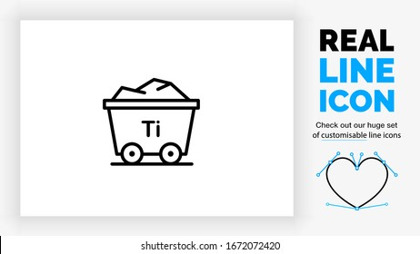 Editable real line icon of titanium in the mining industry as a rail wagon to transport raw material base metal ore with periodic table Ti element symbol in black lines on a white background