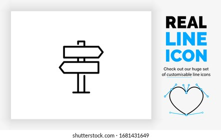 Editable real line icon of a way finding sign with different left and right directions on a pole in modern black lines  on a clean white background as a EPS vector symbol