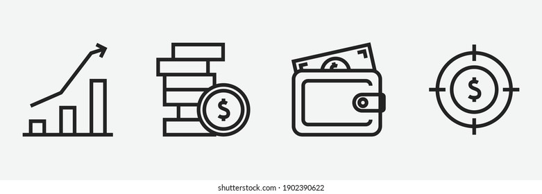 Editable Set Of Business and Finance Icon Line Art Icon Using For Presentation, Website And Application