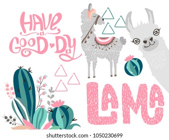 Editable set with a cute lama