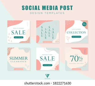 Editable set of social media template designs. Posts and stories. Summer clearance sale. Promotion fashion brand. Abstract pattern with pastel pink and blue. Vector illustration for social media apps.