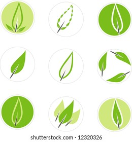 Editable set of vector 9 green leaf graphics suitable for use in a logo.