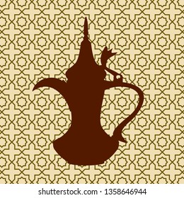 Editable Side View Dallah Arabian Coffee Jug Silhouette on Patterned Background Vector Illustration
