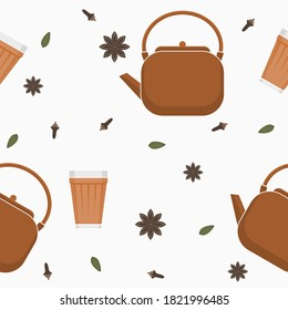 Editable Side View Indian Masala Chai with Assorted Herb Spices Vector Illustration Seamless Pattern