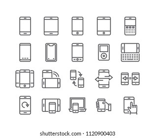 Editable simple line stroke icon set,Various Mobile Phone style and synchronization, touch, rotation.48x48 Pixel Perfect.