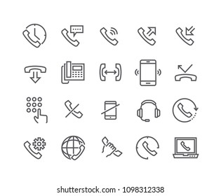 Editable simple line stroke vector icon set,Global Calls, disconnect, Online Support, Mobile Phone and more.48x48 Pixel Perfect.
