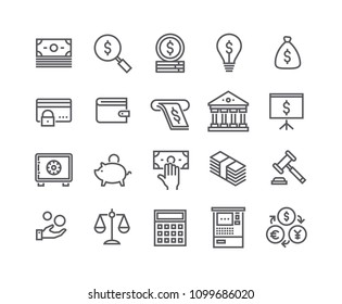 Editable simple line stroke vector icon set,Finance related icon collection,Taxes, Money Management,Stock Exchange,Banking services and more.48x48 Pixel Perfect.