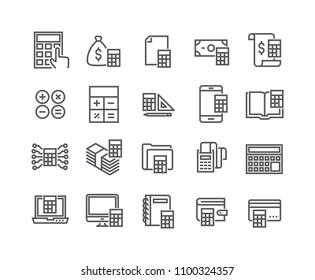 Editable simple line stroke vector icon set,Calculation related icons collection, banking, receipts, engineering calculators and more.48x48 Pixel Perfect.