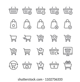 Editable simple line stroke vector icon setShopping Cart Related Vector Line Icons. Contains such Icons as Express Checkout, m-commerce, Add, Delete, Refresh and more.48x48 Pixel Perfect.