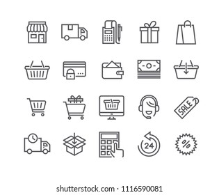 Editable simple line stroke vector icon set,e-commerce icon, Shopping Bag, Store, Sale, Online Support and more. 48x48 Pixel Perfect.