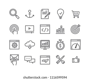 Editable simple line stroke vector icon set,Search Engine Optimization icon, SEO, Coding, Webpage Speed, Support and more. 48x48 Pixel Perfect.
