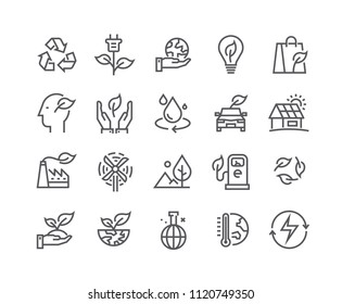Editable simple line stroke vector icon set,Ecology and Nature Environment,Global Warming, Forest, renewable energy and more. 48x48 Pixel Perfect.