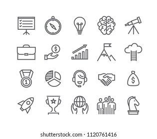 Editable simple line stroke vector icon set,Universal startup, Career, Misson, Teamwork, Business Awards and more. 48x48 Pixel Perfect.