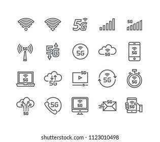 Editable simple line stroke vector icon set,new 5th generation mobile network, high speed connection wireless systems and more. 48x48 Pixel Perfect.
