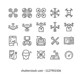 Editable simple line stroke vector icon set,air drones, quadrocopters and remote control drones and more. 48x48 Pixel Perfect.