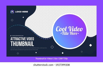 Editable single Thumbnail design for videos and all social platforms premium thumbnail for videos Editable Vector, text Customizable Thumbnails template gradient thumbnail web banner