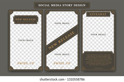 Editable Social media ig instagram story design template in vintage artdeco retro frame style for new product promotion or giveaway