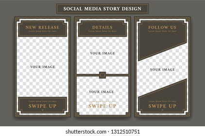 Editable Social media ig instagram story design template in vintage artdeco retro frame style for new product promotion collage of product details and follow action