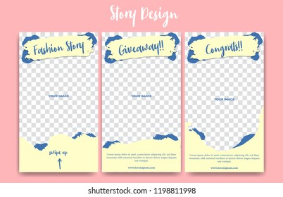 Editable social media instagram story frame template. cute soft pastel colorful creative abstract paint pale pastel yellow background