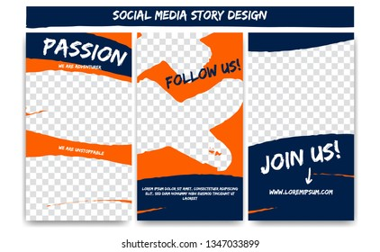 Editable social media Instagram story extreme action adventure in orange blue color. Streaming post social media template frame with brush stroke shape