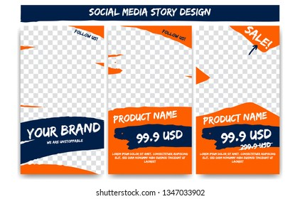 Editable social media Instagram story action adventure in orange blue color. Product sale promotion branding post social media template frame with brush stroke shape