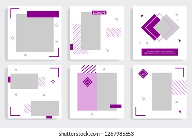 Editable social media post template. Minimalist purple stripe line in white background. Triangle geometric shape pattern style, trendy and minimal design background.