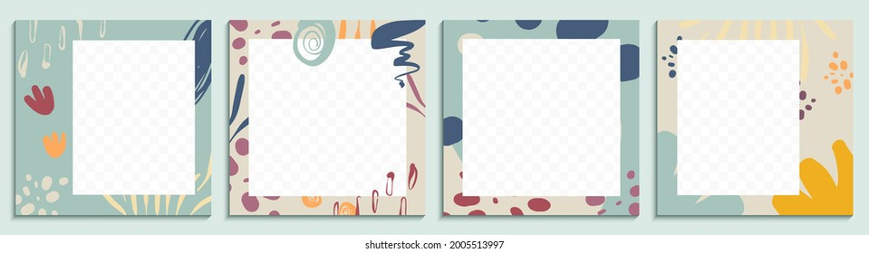 Editable social media posts. Modern template with abstract shapes and line art. Minimalist organic background. Set of square banners for web, newsletters and social media.