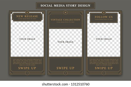 Editable Social media story design template in vintage artdeco retro frame style for new product promotion collage of product details and follow action with paragraph text