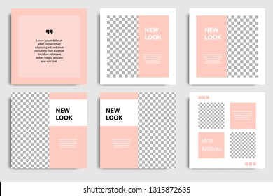 Editable square abstract geometric banner template for social media post and cover. Minimalist design background in soft orange pastel peach color. Vector illustration