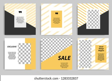 Editable square banner template for social media post. Golden, Yellow frame with black and white background and stripes line. Minimal design background.
